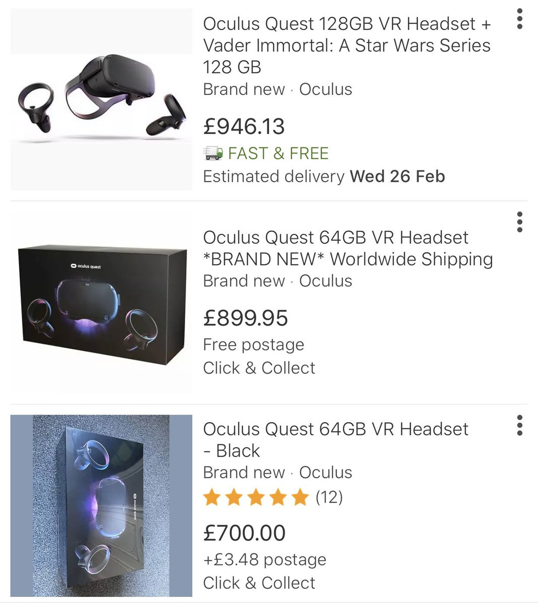 Mike Vro On Twitter Due To The Lack Of Stock Available For Both Valve Index And Oculus Quest The Prices On Ebay Are Insane