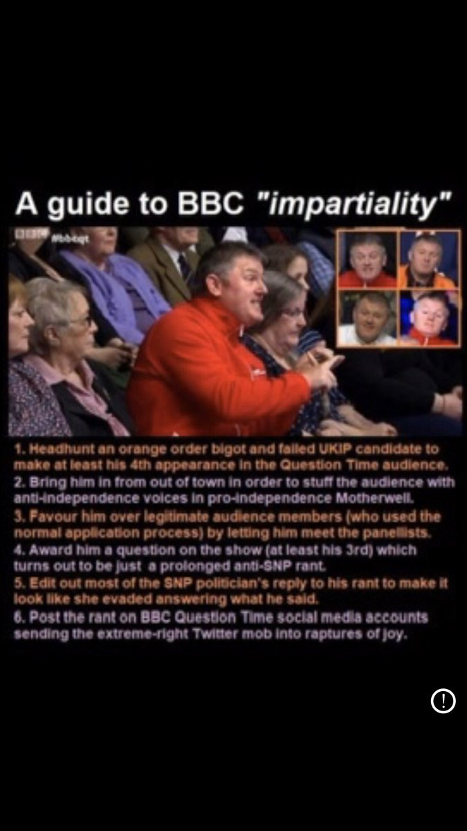 @EmmaKennedy You sound surprised Not only was this character invited to appear in the Ahem ..'Randomly'😉picked audience He was then 'randomly chosen' to speak on every programme What are the chance of that Eh🤔 #BoycottBBCQT