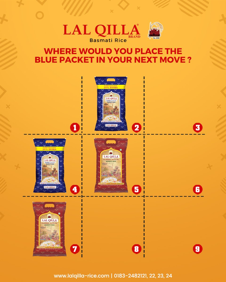 Where would you place the blue packet in your next move?  HOW TO PARTICIPATE  🔵 Follow us on Twitter. 🔵 Share the Post. 🔵 Comment your answer below. 🔵 Tag your 5 friends and ask them to join the contest. 🔵 Random winners will get exciting gift hampers from Lal Qilla Rice.