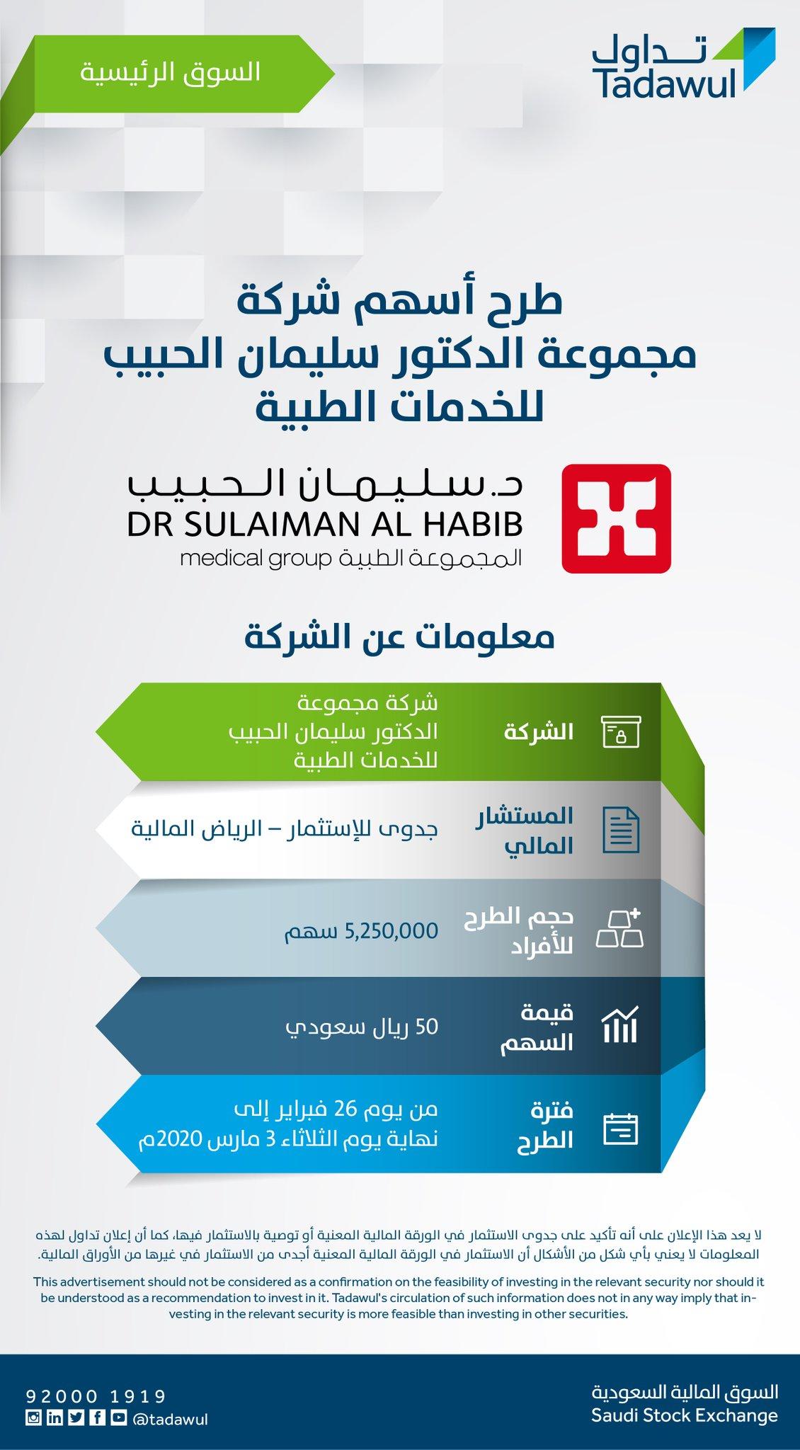 Tadawul تداول No Twitter يبدأ طرح أسهم شركة مجموعة الدكتور سليمان الحبيب للخدمات الطبية يوم الأربعاء 26 فبراير 2020م في السوق الرئيسية للاطلاع على نشرة الإصدار Https T Co Wipeer4tmm Https T Co Tkcw6ciprp