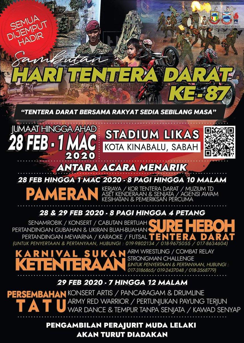 Ayuh warga Kota Kinabalu!! Jom kita ke Stadium Likas!!  Sambutan Hari Tentera Darat Ke-87  #HariTenteraDaratKe-87  Lokasi : Stadium Likas, Kota Kinabalu, Sabah Tarikh : 28 Februari hingga 1 Mac 2020 Masa : 8.00 Pagi hingga 12.00 Malam.  Kami menanti anda di sana!! https://t.co/yPVrAqSUIx