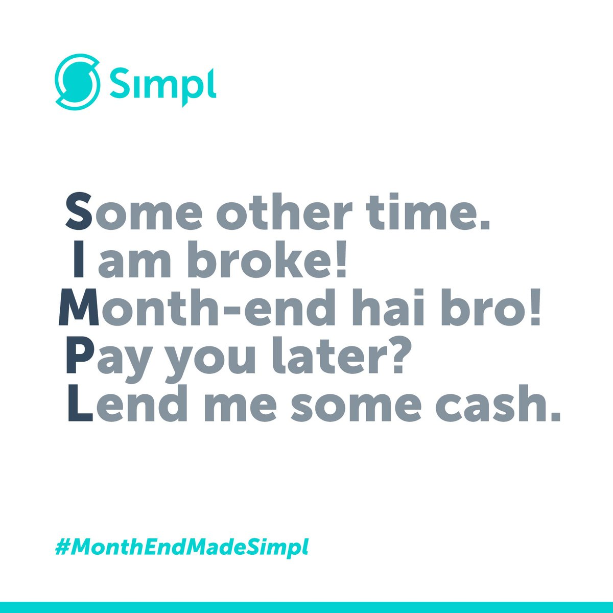 Month-end cash crunch? We have you covered! Use Simpl on different merchant apps now and pay later. Know more - https://www.getsimpl.com  #BuyNow #PayLater #PaymentsMadeSimpl #HassleFreePayments #GetSimpl #DigitalPayments #Fintech #EasyPayments #GoCashless #Finance #TechCompany pic.twitter.com/rMEa8yAgsF