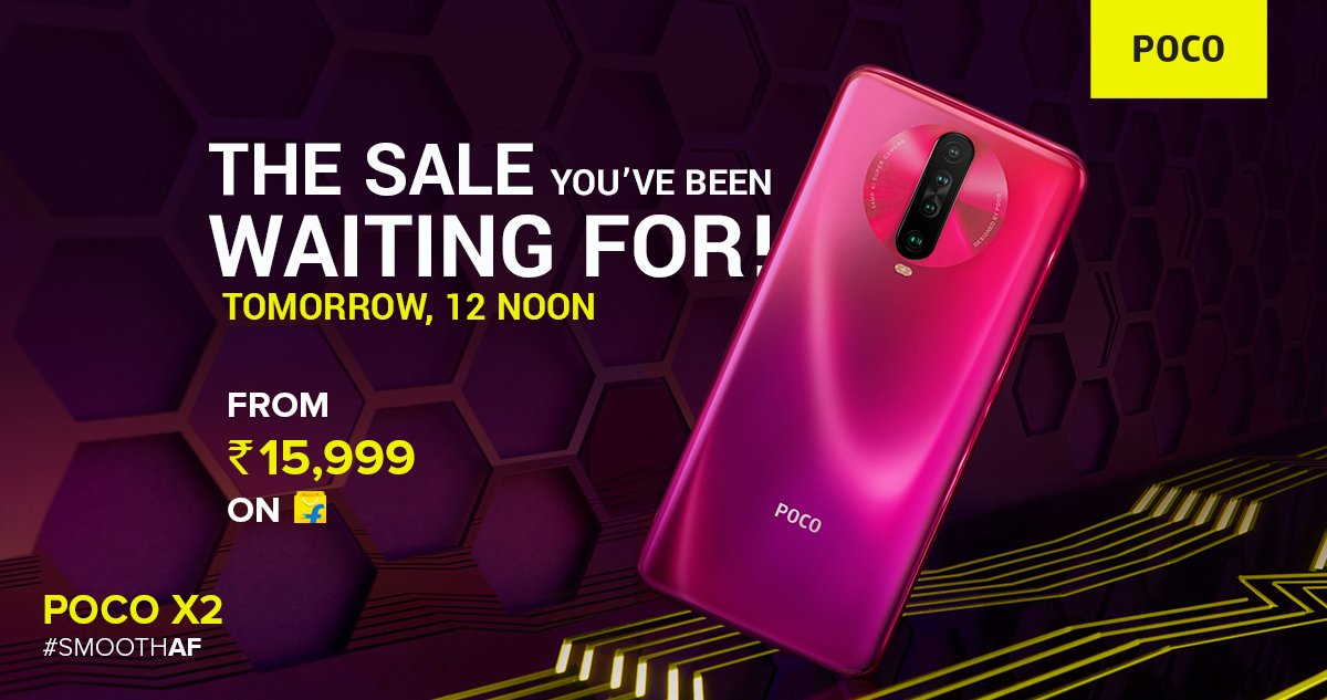 The #SmoothAF performer #POCOX2 goes on sale tomorrow at 12 noon on @Flipkart.  Click on 'NOTIFY ME' to get notified: http://bit.ly/POCOX2fk