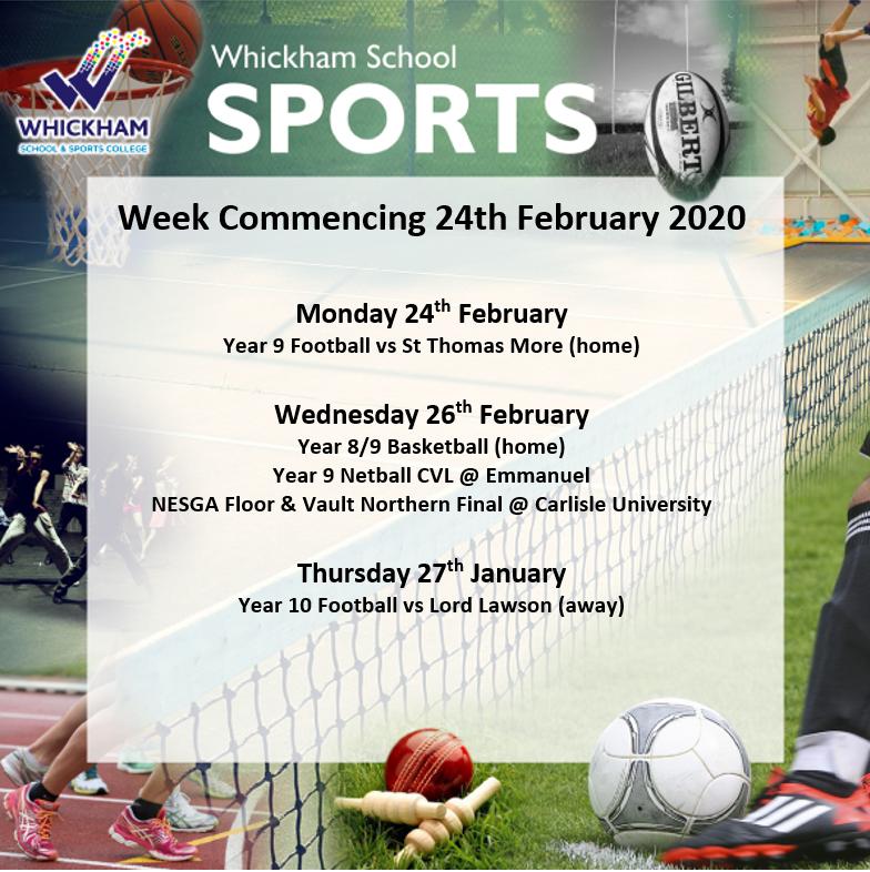 SPORTS FIXTURES WEEK COMMENCING 24TH FEBRUARY #GoTeamWhickham #BeTheBestYouCanBe #WhickhamSport @WhickhamSport https://t.co/l1IysRYgch
