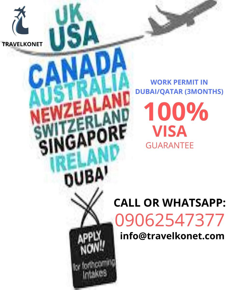 Going for Tour/Visitation! #visit our #office closer to you today or #reach us on #whatsapp09062547377 #moreinfo Also #work permit for #dubailife inbox us today. #travelkonet we give you the #bestoftheday https://twitter.com/messages/compose?recipient_id=804045019715960836…pic.twitter.com/yagJsIAUIx