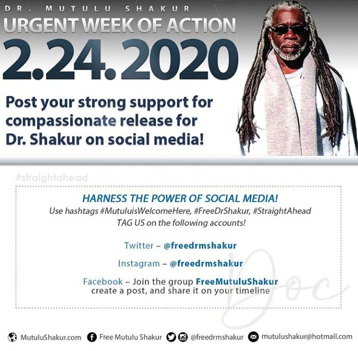 WE NEED YOUR HELP !   Today,  post as much as possible about Dr. Mutulu Shakur to raise awareness and support.   USE THE HASHTAGS  #MutuluisWelcomeHere #FreeDrShakur  #StraightAhead #FreeEmAll   TAG  @freedrmshakur   DON'T KNOW DR.SHAKUR!? Check out https://t.co/4Y8s4Ahtq8 https://t.co/fnkDj91ZP7