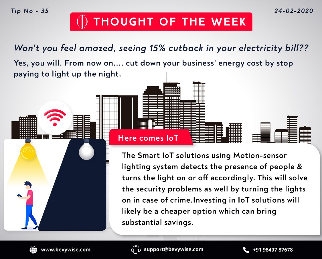 #tip of the week - 35 Cut down your #business' #energycost by 15% by stop paying to #light up the night. The Smart #IoT solutions using Motion-sensor #lightingsystem detects the presence of people & turns the light on or off accordingly.   #iot #iotapplications #smartsolutions pic.twitter.com/hjJyfsTc8X