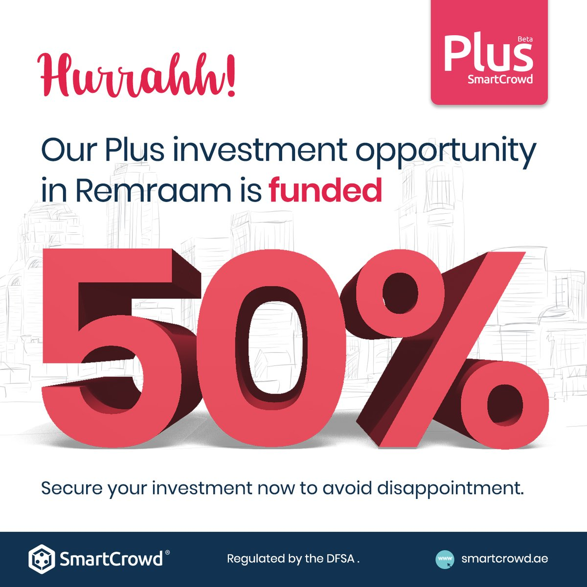 Hurrahh! Our Plus investment opportunity in Remraam is now 50% funded! Secure your investment now to avoid disappointment.  #realestate #investments #property #dubai #fintech #crowdfunding #dubailife #mydubai #wealth #innovation #futureisnow #uae #mydubai #financialfreedompic.twitter.com/6UztXSvFsh