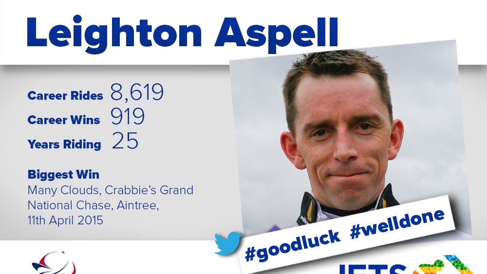 Congratulations to top Jockey, and two times Grand National winner, Leighton Aspell who had his final ride at @FontwellPark yesterday!  Best of luck for everything the future holds Leighton! 👏 #goodluck #welldone