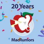 Image for the Tweet beginning: MacRumors is 20 Years Old