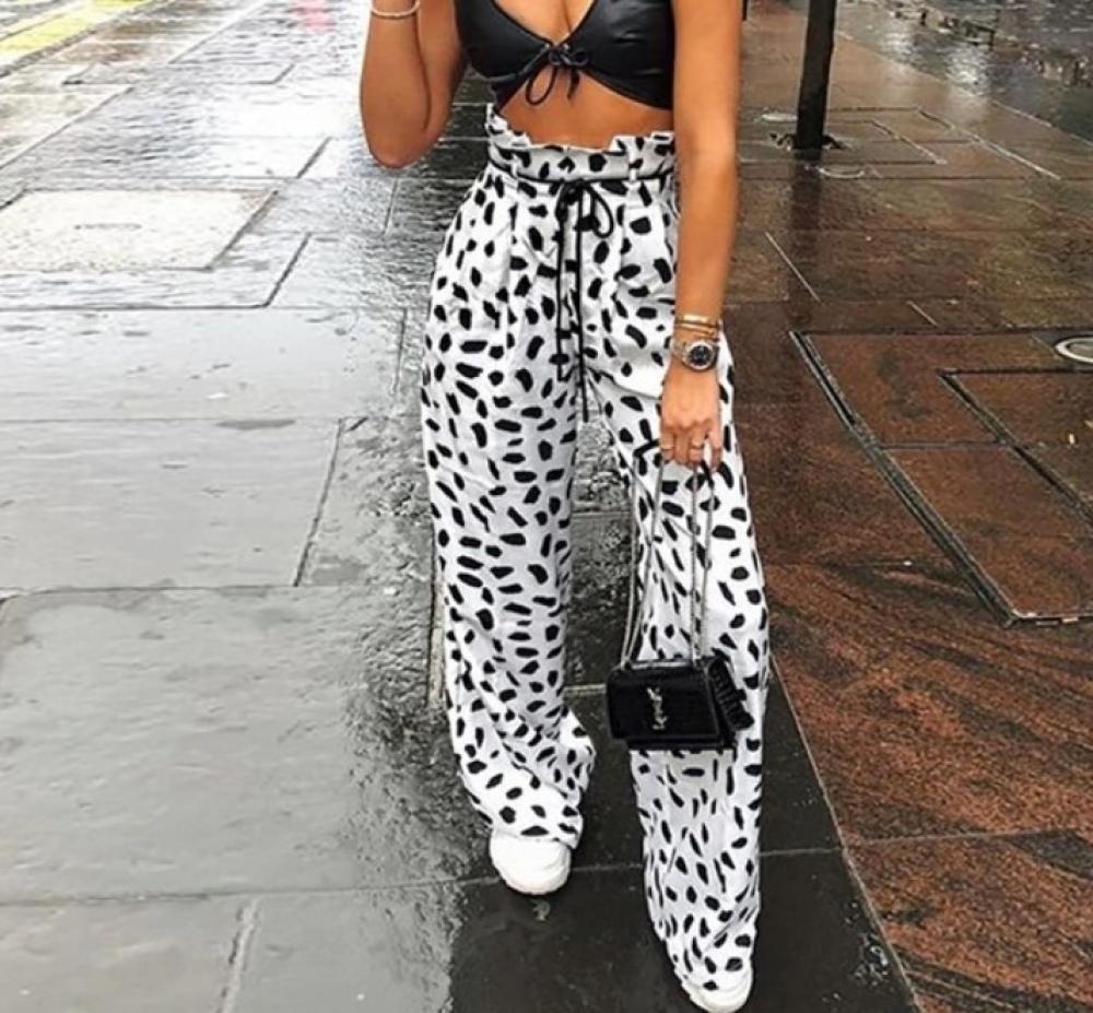 #friends #cool Women's Snow Leopard Print Wide Pants