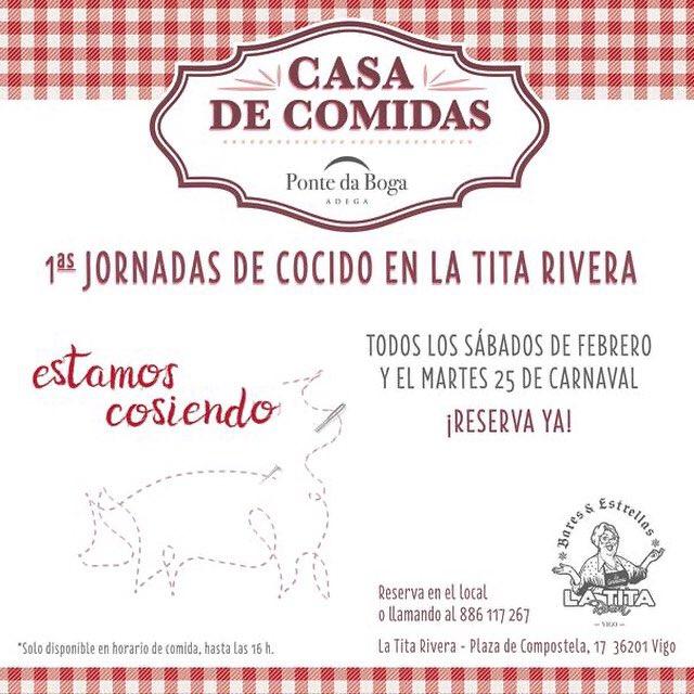 ¡Mañana martes de carnaval toca cocido en @LaTitaVigo ! ¡Otra jornada de cocido gracias a @pontedaboga! ¡Apúntate!  . . .  #Vigo #vino #PontedaBoga #Mencía #Cocido #EstamosCosiendo #LaTitaRivera #vigomola #vigocity #cerveza #cerveceros #locales #cider #bares #baresdevigo #galicia