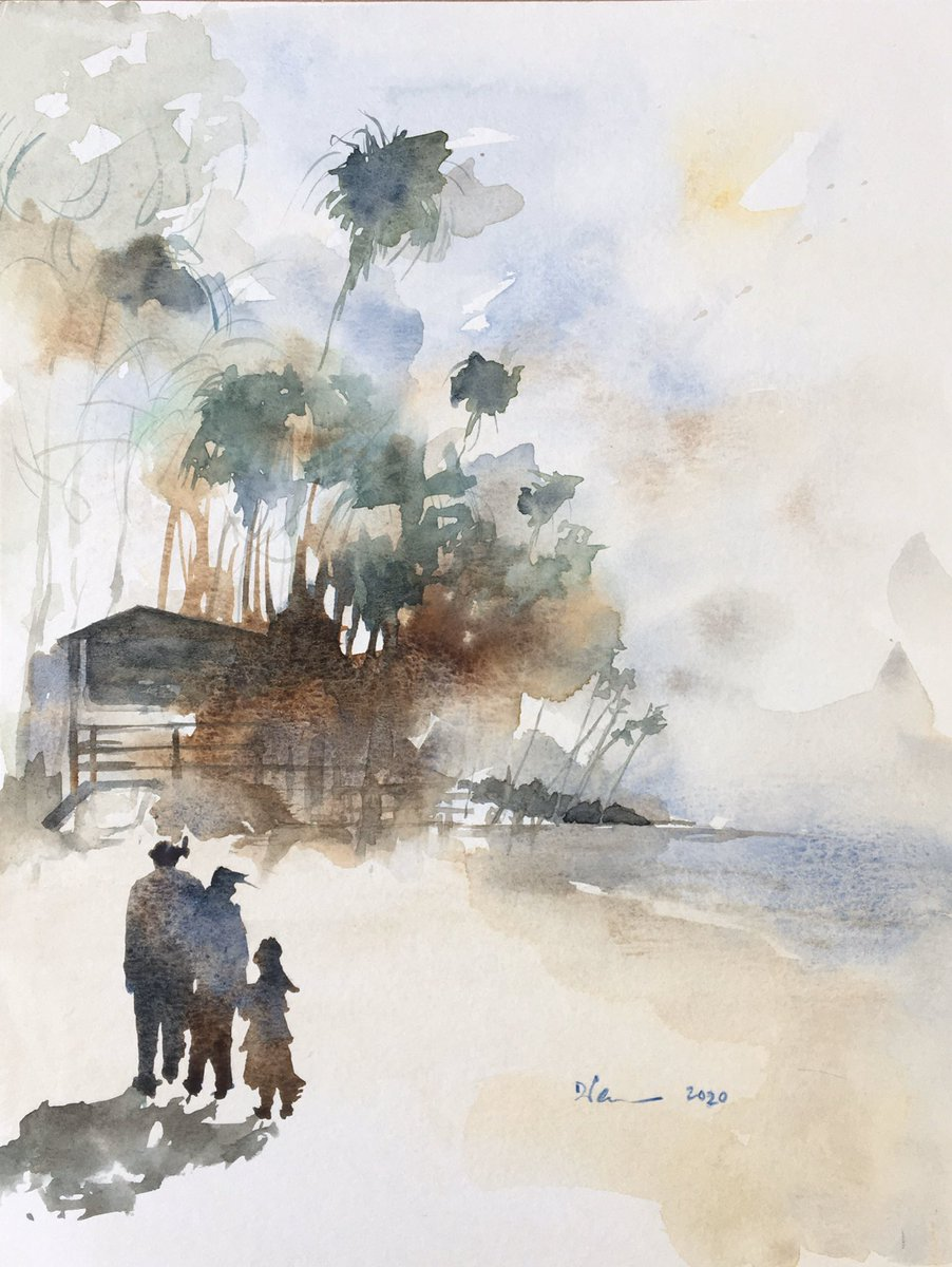 Beach Walk #watercolor #sketch #painting #watercolorpainting #southerncalifornia #beach #beachscape #surf #socal #california #californialife #contemporaryart #fineart #originalart #daviddpearcefineart #daviddpearcewatercolors #daviddpearce