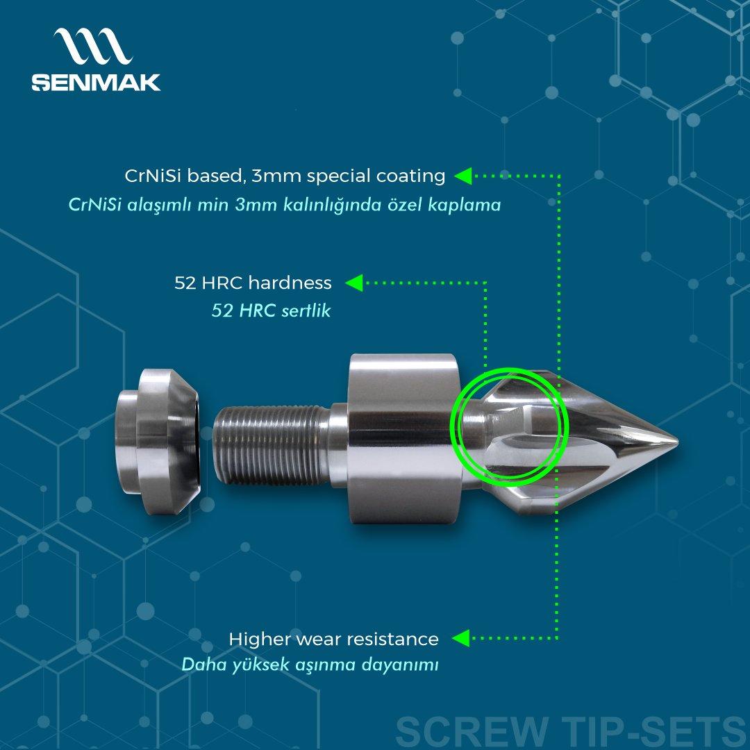 Şenmak'ta üretilen roket takımları, CrNiSi esaslı özel bir kaplama ile min 3mm kalınlığında kaplanır, bu sayede daha yüksek sertlik seviyesi ile yüksek aşınma dayanımı elde edilir.  #şenmak #şenmakmakina #senmak #senmakmakina #vida #kovan #vidakovan #screw #barrel #screwtipsets
