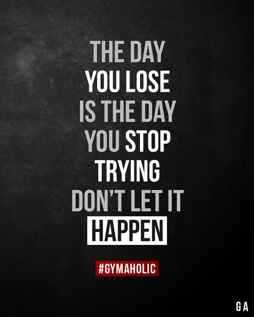 The day you lose is the day you stop trying. Don't let it happen.  Gymaholic App:   #fitness #motivation #workout #gymaholic #quote