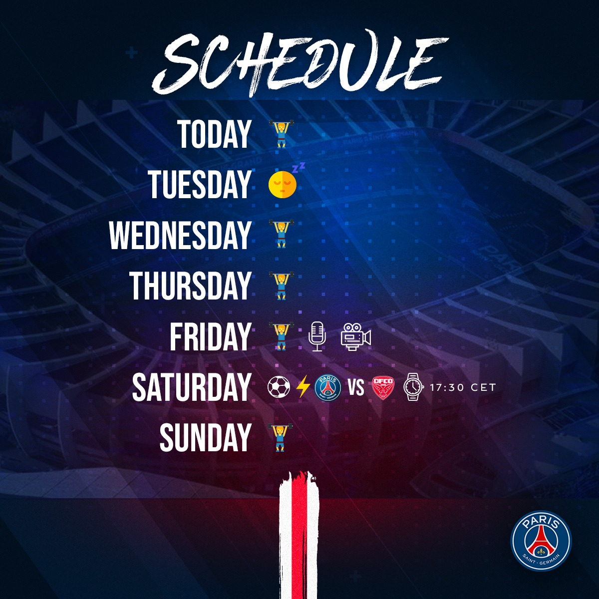 🔛🗓️ The schedule for this week!   ⚽️🆚 @DFCO_Officiel on 29/02  🔴🔵 #ICICESTPARIS