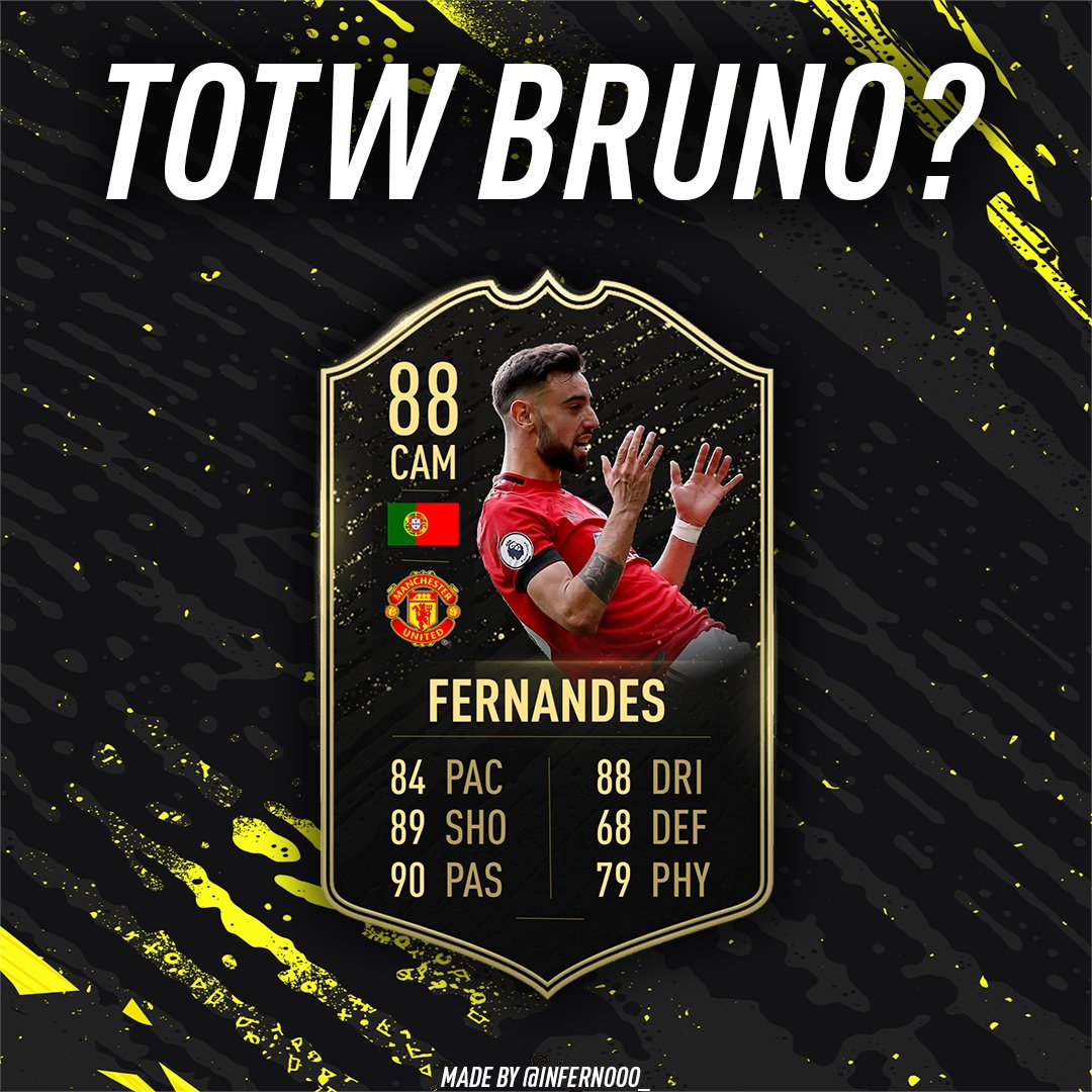 Could we see Bruno Fernandes in #TOTW24? He scored 1 and gave 1 assist in Manchester United's 3-0 victory over Watford last Sunday. He got the MOTM with a 9.8 rating on SofaScore.  #TOTW #FIFA20 #GGMU #ManUtd #MUFC #FUT20 #brunofernandes