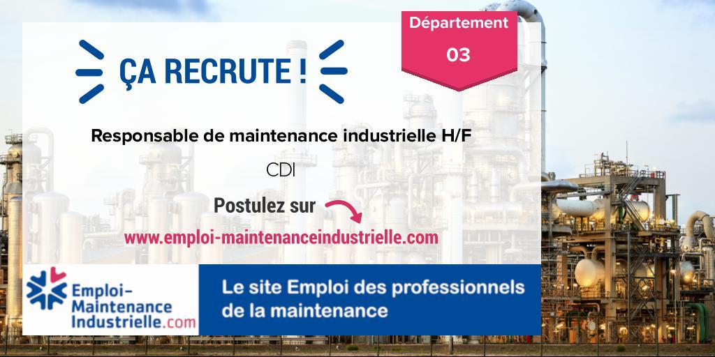 Responsable de maintenance industrielle H/F (CDI)  à VILLEFRANCHE-D'ALLIER (03 Allier). Expérience : 4-8 ans. #emploi #technicien #maintenance Postulez ! https://www.emploi-maintenanceindustrielle.com/offre-emploi/16203/CDI-Responsable-de-maintenance-industrielle-H-F-Autres-VILLEFRANCHE-D'ALLIER…