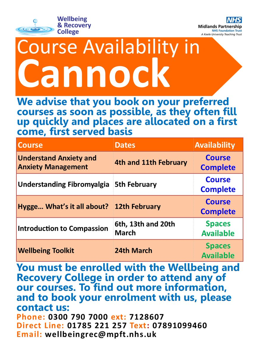#Cannock friends! We still have plenty of spaces available on the three-part Introduction to #Compassion course, as well as on our single-session #Wellbeing Toolkit course. Interested? Please get in touch either on here or using the contact details at the bottom of the image :)
