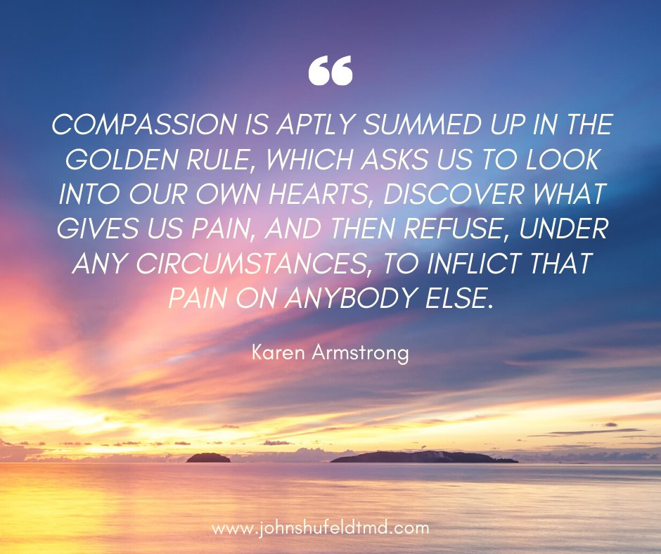 """Compassion is aptly summed up in the Golden Rule, which asks us to look into our own hearts, discover what gives us pain, and then refuse, under any circumstances, to inflict that pain on anybody else."" - Karen Armstrong  #karenarmstrong #quoteoftheday #compassion #goldenrule"