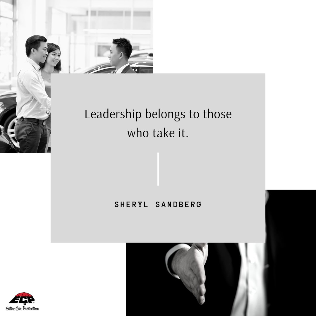 """Leadership belongs to those who take it."" -Sheryl Sandberg Sharing this oldie but goodie again from Sheryl Sandberg, businesswoman and author, for today's Monday Motivation.  #ECP #TheProtector #AutoArmor #MondayMotivation #MotivationMonday #Motivation"