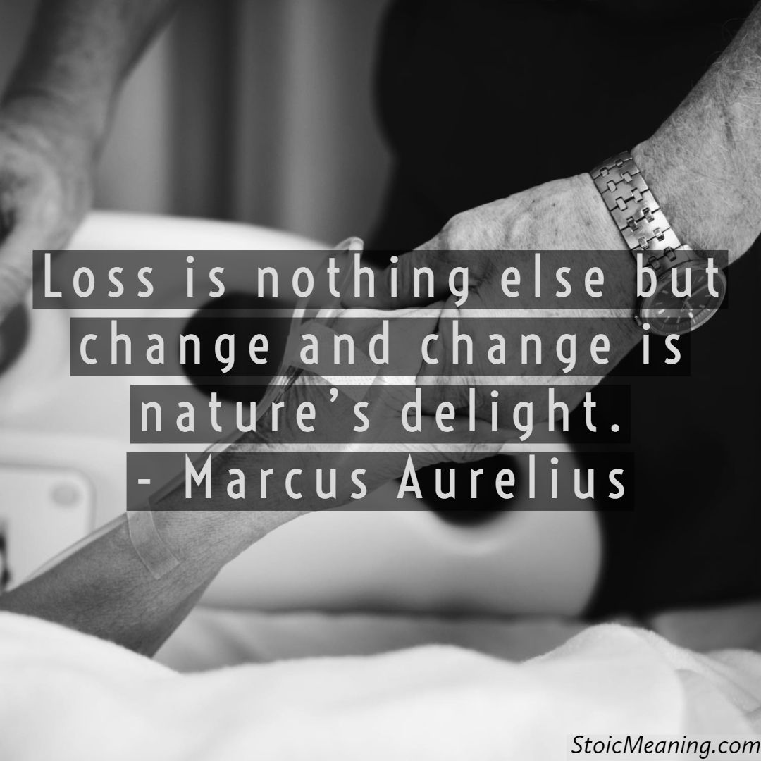 Loss is nothing else but change and change is nature's delight. - Marcus Aurelius  #stoicism #stoic #mindfulness