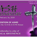 Image for the Tweet beginning: Ash Wednesday and Schedule of