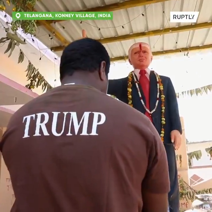 Indian #Trump super-fan worships life-sized #POTUS statue in Talangana village
