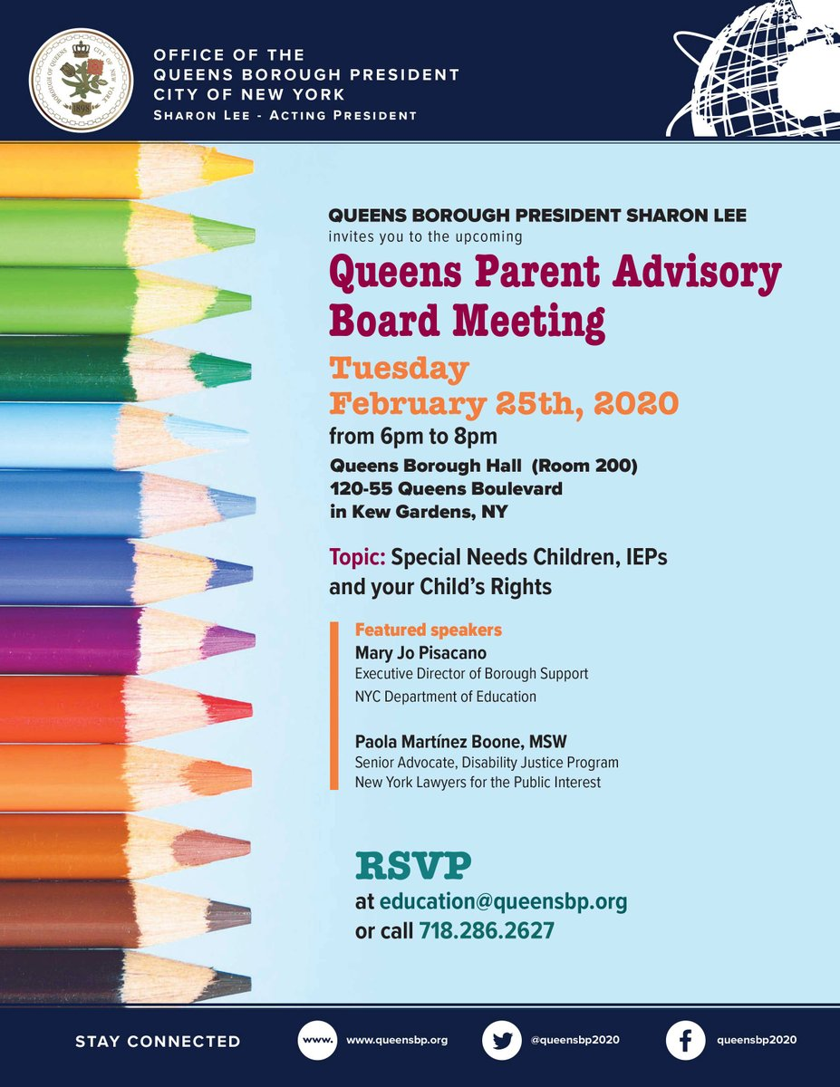 Join us at Borough Hall tomorrow at 6pm for a meeting of the #Queens Parent Advisory Board, focusing on the rights of special needs students and how to secure an Individualized Education Program (IEP) for your child(ren)pic.twitter.com/ATE5zDQaAB