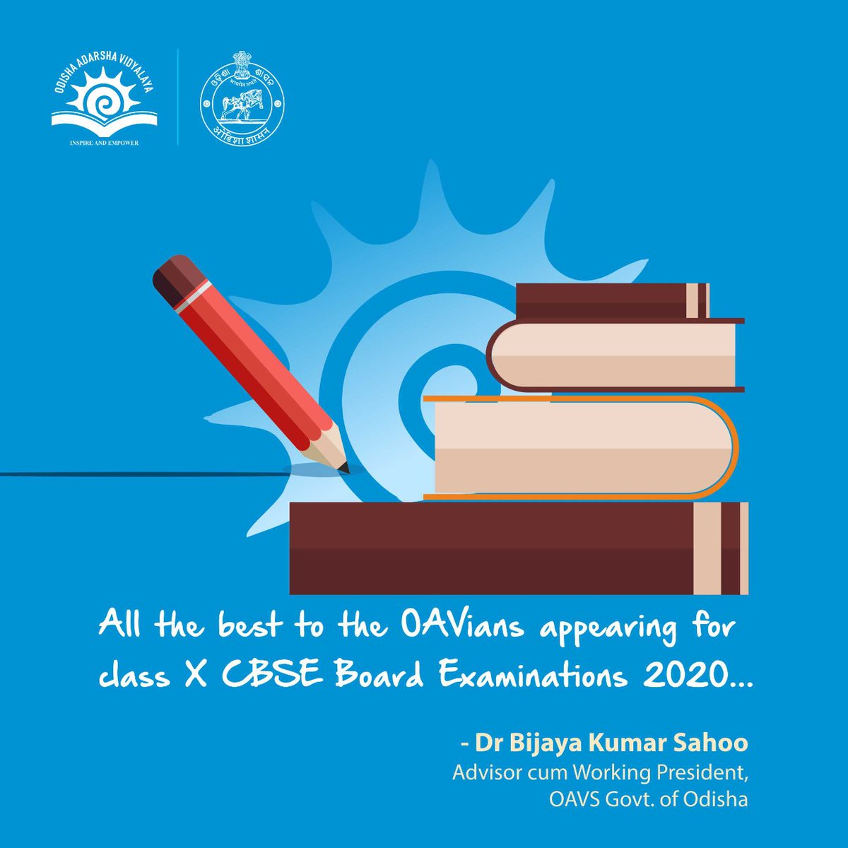 Wishing my OAVians luck for their #AISSE2020... Im sure you all will do brilliantly well.. god bless you all.. #OAVS @CMO_Odisha @Naveen_Odisha @samirdash01 @OAVS_Official