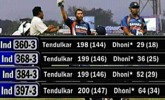 In between Sachin to reach 200 (197-200)   #Dhoni scored 35 runs (29-64) in just 16 Balls !  10 years of this wonderful match. <br>http://pic.twitter.com/VDO0P9Aara