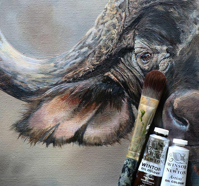 I'm so enjoying working on this piece, thoughtfully developing it at the speed of snail  ! Please enjoy this rather inelegant crop! #workinprogress #paintingprocess #ipaintslowly #buffalo #art #robynansellart #paintingcrop #wildlifeart #buffalo… https://ift.tt/32nVz8bpic.twitter.com/RNfHBijXZ1
