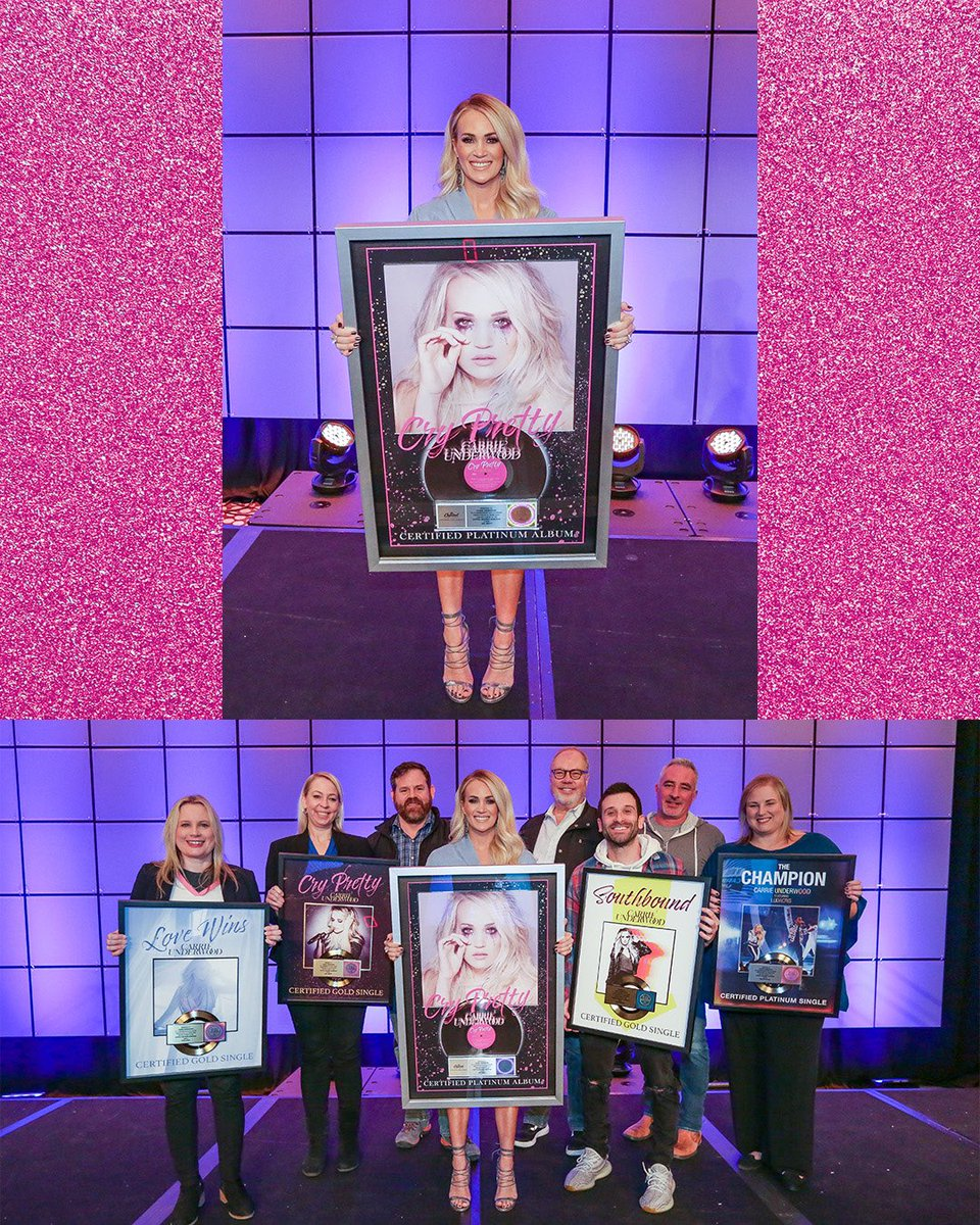 CONGRATS to Carrie on Platinum certification 💿 of the Cry Pretty album, along with four certified singles! –TeamCU #CryPrettyPlatinum 💿#TheChampion #CryPretty #LoveWins #Southbound https://www.carrieunderwoodofficial.com/carrie-underwoods-cry-pretty-album-certified-platinum-by-riaa/…