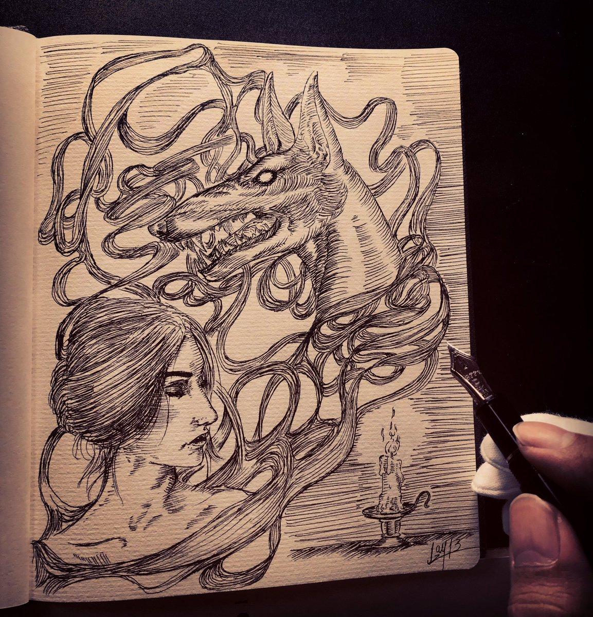 落書き、 生と死、想像と破壊、心理と物理、女と男。  #アート #落書き #イラスト #万年筆  #people #smoke #女性 #アナログ一発描き #art #ilustration  #drawing #woman #煙 #foutainpen #キャンドル #candle #myartwork  #dog #犬 #tradicional
