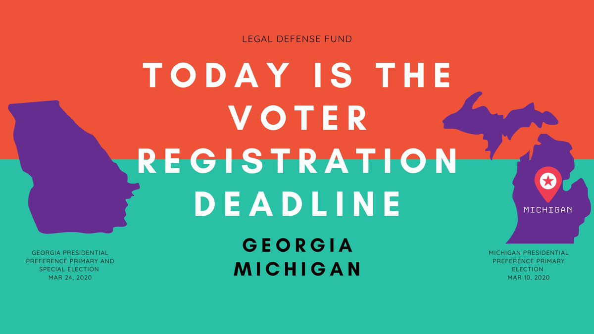 🚨 VOTER PREPARATION ALERT🚨  If you are in Michigan or Georgia, today is the final day to register to vote in the March primaries.  GA voters, check your status and/or register to vote here: https://www.mvp.sos.ga.gov/MVP/mvp.do   MI voters, click here to register now: https://mvic.sos.state.mi.us/RegisterVoter