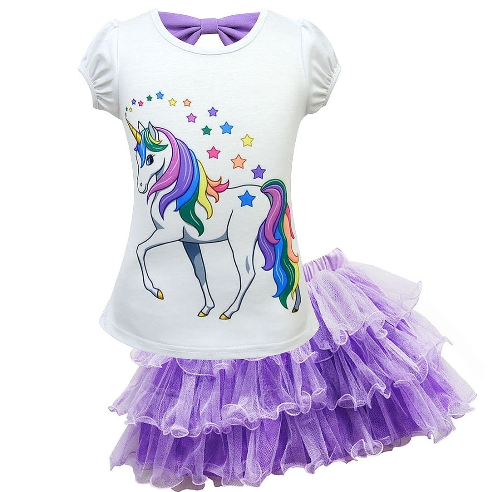 #igers #tagsforlikes Unicorn Printed Girl's T-Shirt and Ruffled Voile Skirt Set