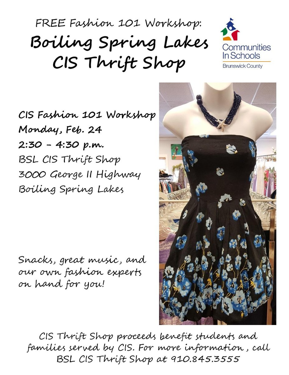 Today Feb. 24 from 2:30 - 4:30 p.m. is our FREE CIS Fashion Workshop at the BSL CIS Thrift Shop. Snacks, great music, and our own fashion experts on hand for you! We can't wait to see you! pic.twitter.com/OZQyavL0bv