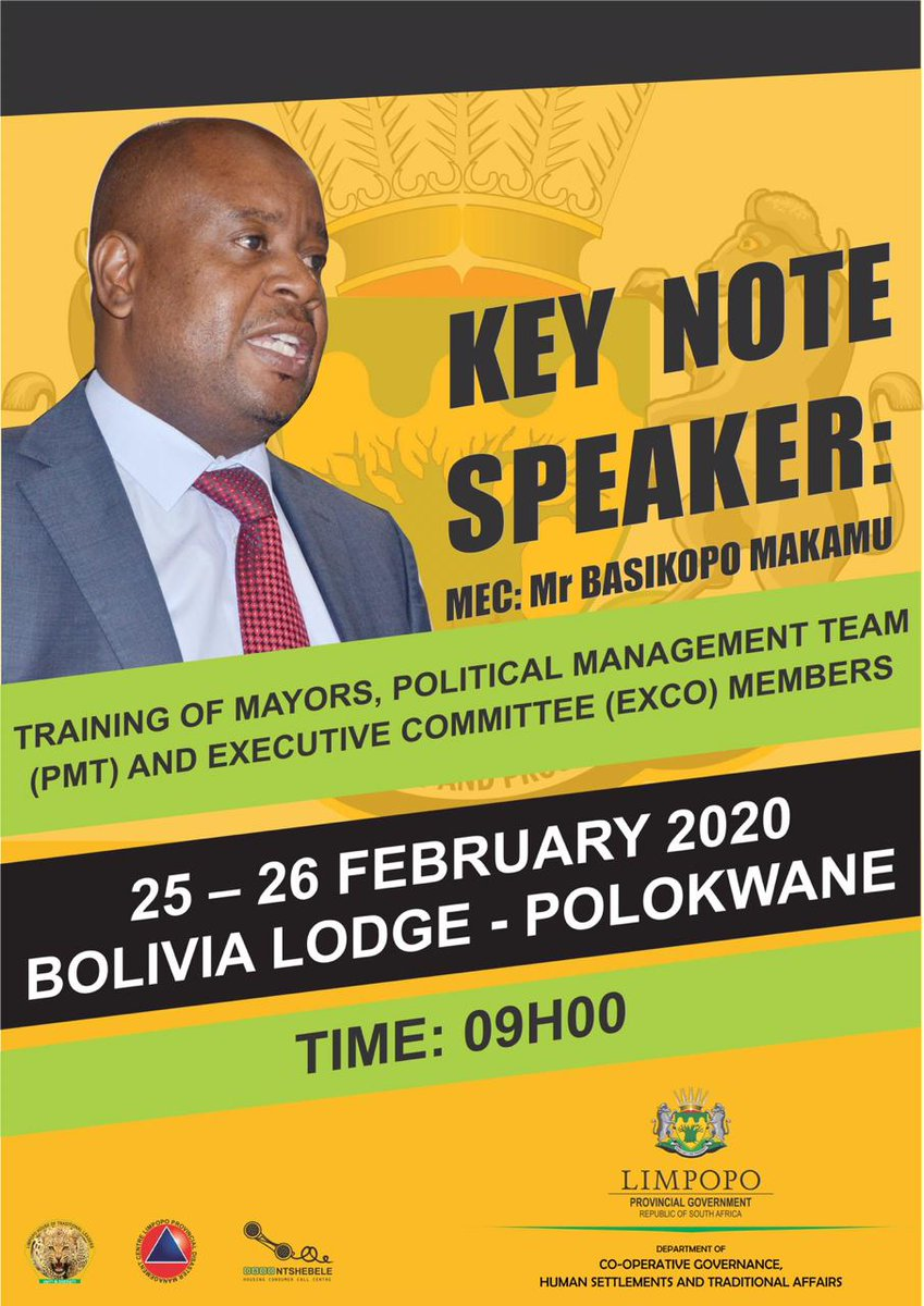 The MEC will be addressing and engaging with Mayors, PMT, EXCO members on their 2 days training workshop taking place as follows: pic.twitter.com/lAPsnhO7tI