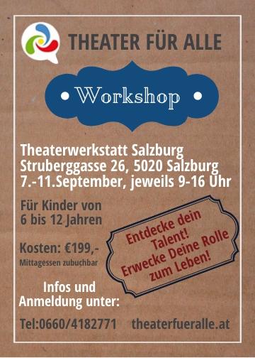 Jetzt auch zu unserer Theaterwerkstatt für VS-Kinder in Salzburg anmelden! . . . . . #tfa #theaterfueralle #theaterfueralle_salzburg #theaterfueralle_wien #theaterworkshop #theater #workshop #theaterwerkstatt #werksatt @vhs_salzburg #sommer Theaterwerkstatt Salzburg Salzburgpic.twitter.com/PZZKVwB6HY