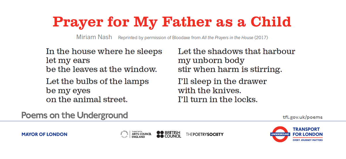 "test Twitter Media - ""Let the bulbs of the lamps / be my eyes / on the animal street.""  Check out @miriamnash's beautiful poem 'Prayer for My Father' in the latest #PoemsontheUnderground set. You can order a poster for just the cost of P&P: https://t.co/6UdgZO4GWu https://t.co/4LBoy2HjXq"