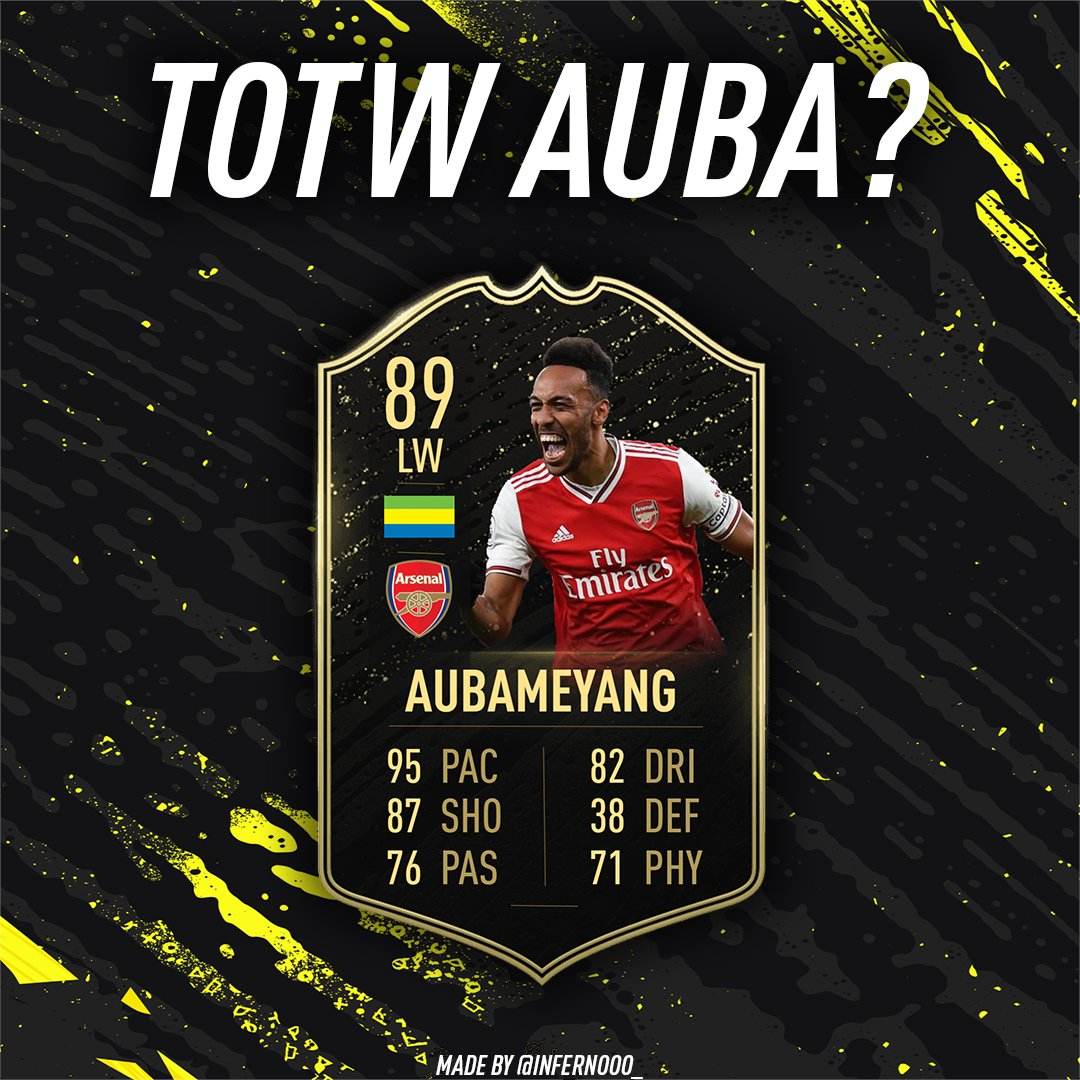 Could we see Pierre-Emerick Aubameyang in #TOTW24? He scored 2 goals in the 3-2 win for Arsenal over Everton last Sunday. He was MOTM with an 8.5 rating on SofaScore.  #FIFA20 #TOTW #FUT20 #COYG #ARS #Aubameyang