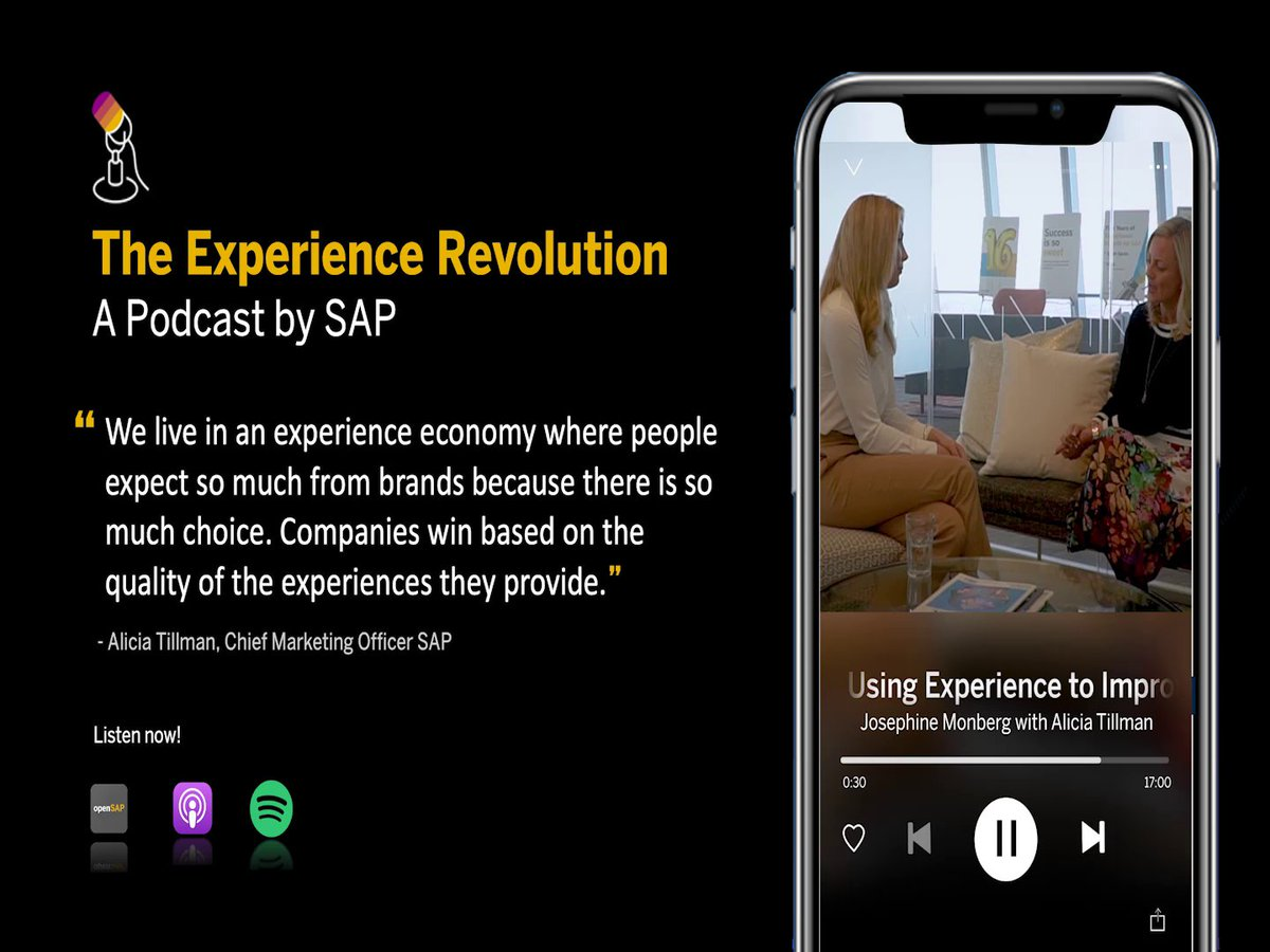 Craft exceptional experiences to earn customers for life.  🎙 @aliciatillman explains SAP's strategy for intelligent enterprises with Experience Management (#XM).  Listen to The Experience Revolution podcast: http://sap.to/60121ldnQ