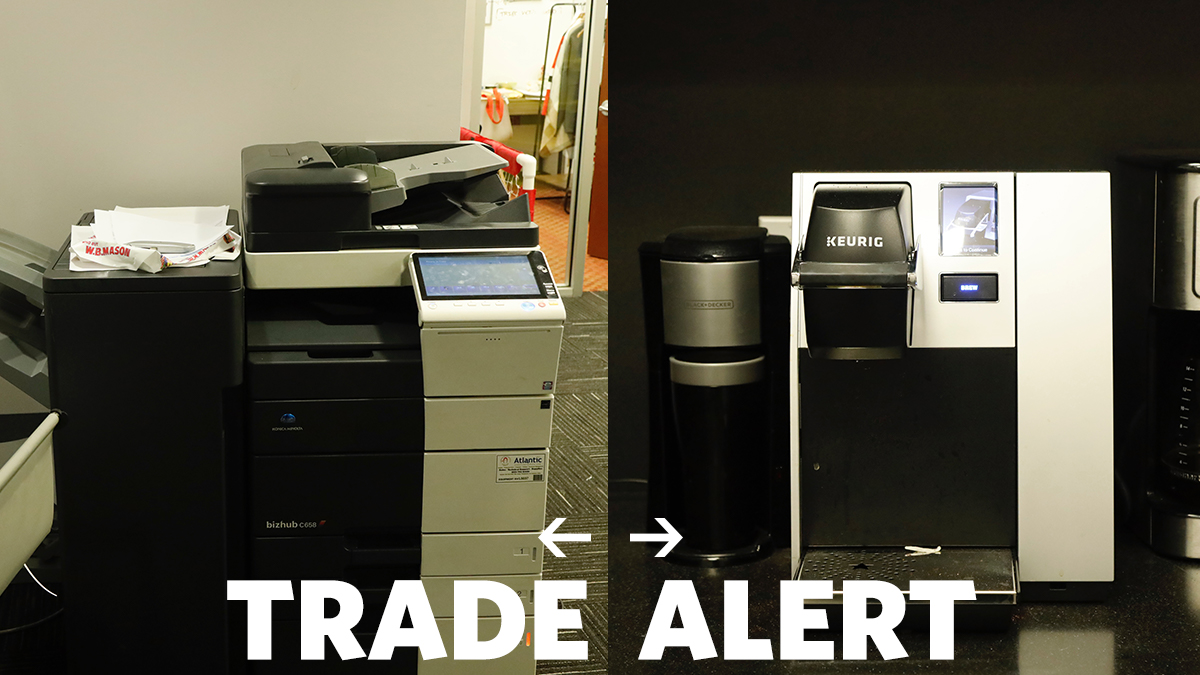TRADE ALERT: Prudential Center has traded a printer to @barclayscenter for 4 coffee machines and a wide variety of K-Cups. Press conference pending.
