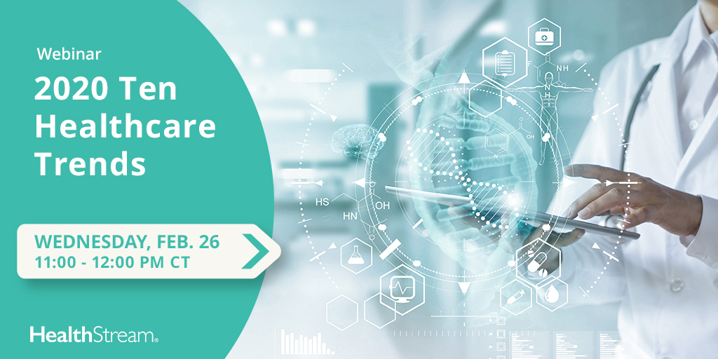 "Don't forget to reserve your spot for our webinar ""The Top 10 Healthcare Trends of 2020,"" this Wednesday featuring Robin Rose, VP, Healthcare Resource Group at #HealthStream. Register here: https://hstm.us/10-trends  #healthcare #2020trends #HealthcareTrends"