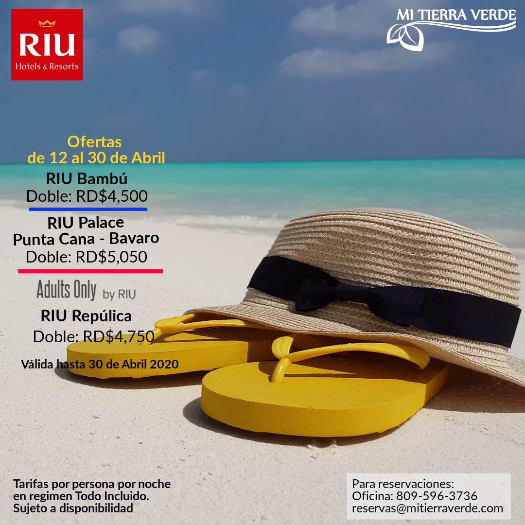 #Oferta de los #Hoteles #Riu para el mes de  #Abril  Reserva Ya! Contactos: Oficina: +1809-596-3736 Flota: +1809-918-0283  #GodFirst #MiTierraVerde #RIUHotels #PuntaCana #WaterPark #Sun #Beach #Sean #Adultsonly #Vacation #Fun