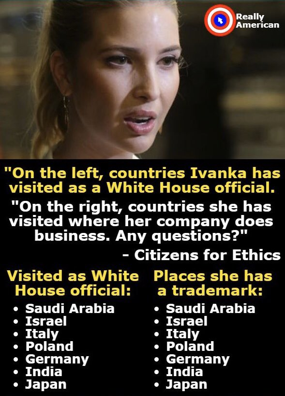 @IvankaTrump 5 U.S. Code §3110. Employment of relatives; restrictions— US Constitution's #Nepotism clause  nep·o·tism /ˈnepəˌtizəm/  The practice among those with power or influence of favoring relatives or friends, especially by giving them jobs. Example: Trump's daughter, Nepotism Barbie.