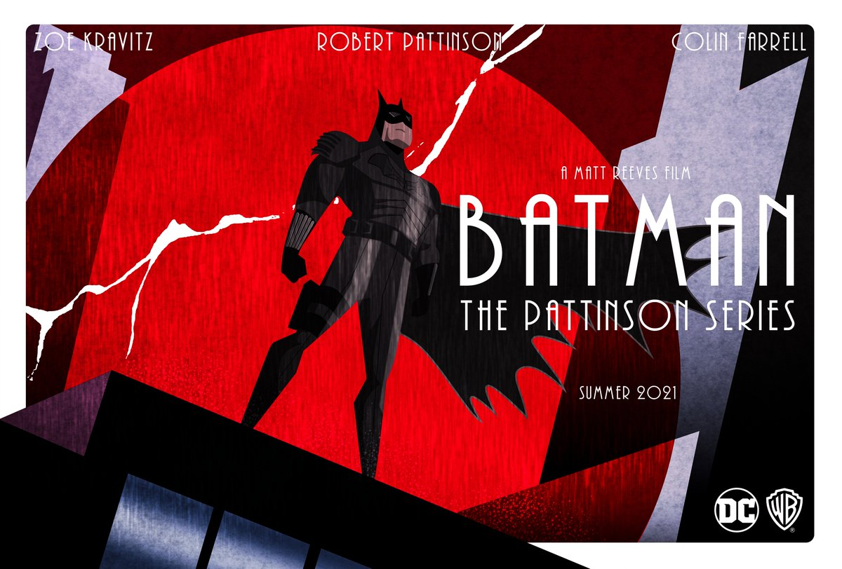 I made an animated series inspired poster for R-Patz. Hey @WarnerBrosUK @wbpictures @mattreevesLA , I'm open for commissions.  #batman #thebatman #robertpattinson #cartoon #animated #movieposter #filmposter #alternativefilmposter #digitalartist #mondaythoughts #commissionsopenpic.twitter.com/guGQXl0uZN