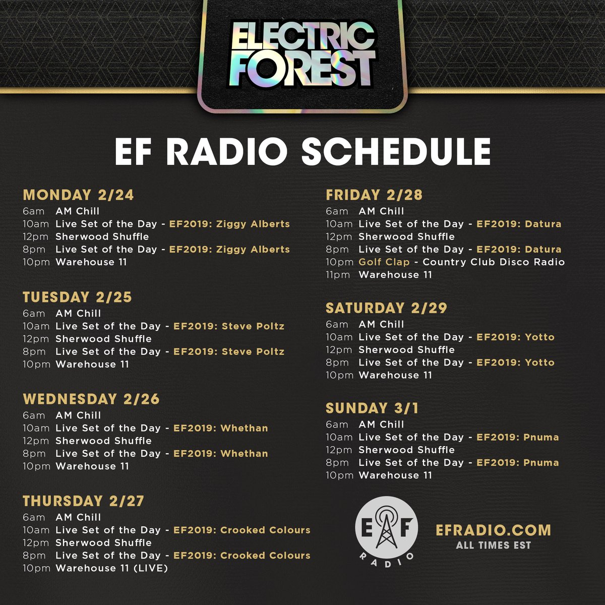 This week on @EForestRadio!   Tune in and hear #EF2019 Sets from @StevePoltz, @WhethanMusic, @ZiggyJanAlberts, @YottoMusic and others, plus daily broadcasts of the AM Chill, Sherwood Shuffle and more...   Hear it 24/7/365 at http://EFRadio.com !pic.twitter.com/8ttC8Vwpda