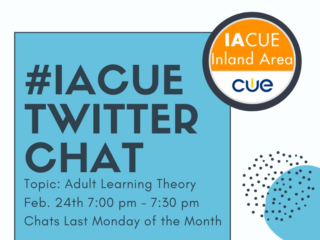 Welcome to tonight's #IACUECHAT tonight on Adult Learning!  We are so excited to be discussing with you all about how you learn, why you want to learn, and future learning!   Have fun with us for the next half hour!  #WeAreCue #bettertogether pic.twitter.com/CsKgBCNHjG