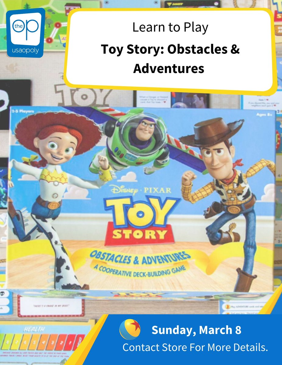 Join me on Sunday March 8th from 12-5pm at @RedRaccoonGames to try out Toy Story Obstacles & Adventures! The new co-op by @TheOpGames, makers of the great game Harry Potter Hogwarts Battle. Join the Toy Story gang as you take on adventures with your friends! @DexEnvoy https://t.co/k81ppqLaRT
